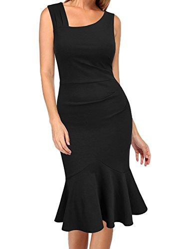 Dress Midi Calf Sleeveless Womens Elegant Black Slim Vintage WOOSEA Mermaid Mid WwgZ7USq