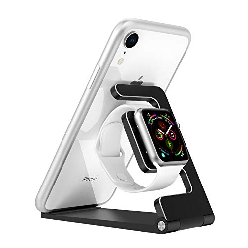 MoKo Watch Stand Compatible with iWatch Series 4 3 2 1,[2 in 1]Folding Charging Station Fit with iWatch 38mm/40mm/42mm/44mm,iPad mini 5/4/3/2,Pro 11,New iPad Air 3rd Gen iPad Mini 5th Gen, Black