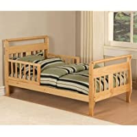 Baby Relax Sleigh Toddler Bed With Two Side Rails and Rounded Headboard (Natural)