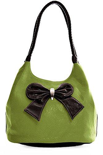 Big Handbag Shop Womens Large Bow Brown Trim Shoulder Bag (MA_D858 Medium (Bow Trim Shoulder Bag)