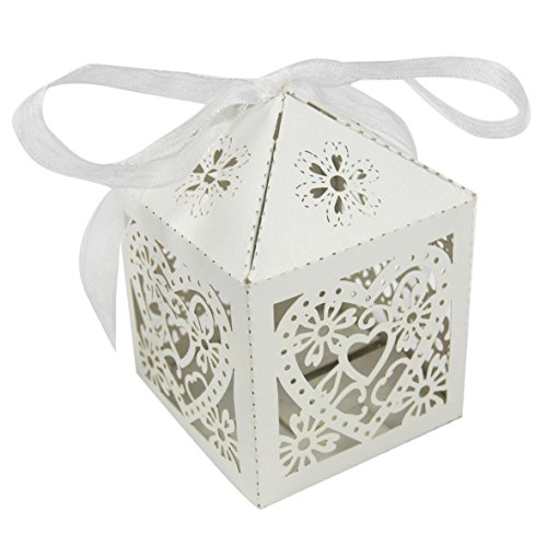 50PCS Luxury Wedding Party Sweets Cake Candy Gift Favour Favors Boxes (Love Heart, White) (Box Candy Sweet)