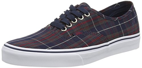 Vans Unisex Authentic Plaid Skate Shoes-Plaid Dress Blues-12.5-Women/11-Men (Plaid Canvas Footwear)