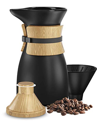 Pour Over Coffee Maker, Ceramic Carafe and Cone Funnel, Bamboo Insulation, 18.5 fl. Oz, 2 Cups, Hand Drip Café Brewer and Slow Brew Pot… (Black) (Black)