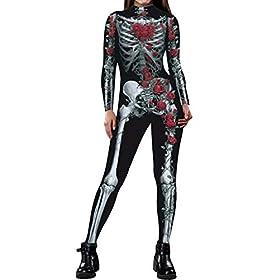 Fixmatti Women Halloween Costume Idea Cosplay Clothes Full Body Onesie Catsuit S
