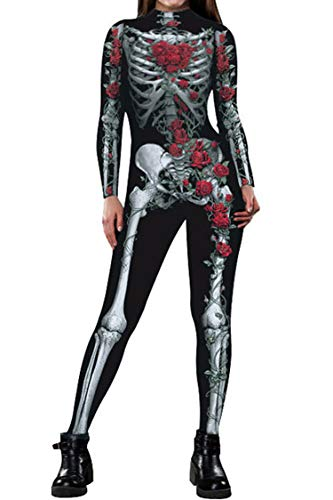 Halloween Costumes Ideas for Adult Cosplay Clothes Skeleton Full Body Onesie Catsuit]()
