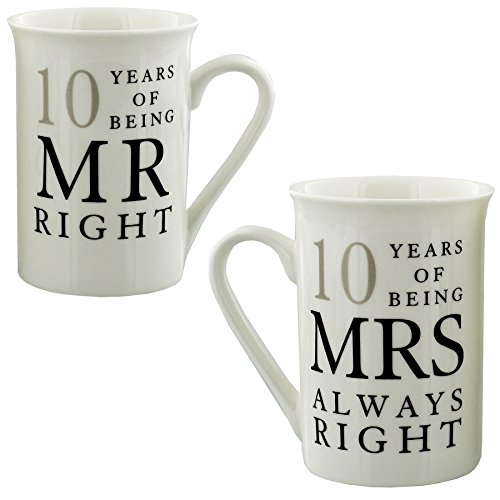 10 Years Of Mr Right and Mrs Always Right Mugs Christmas Xmas Holiday Stocking Filler Secret Santa Present (Anniversary Gift Tin)