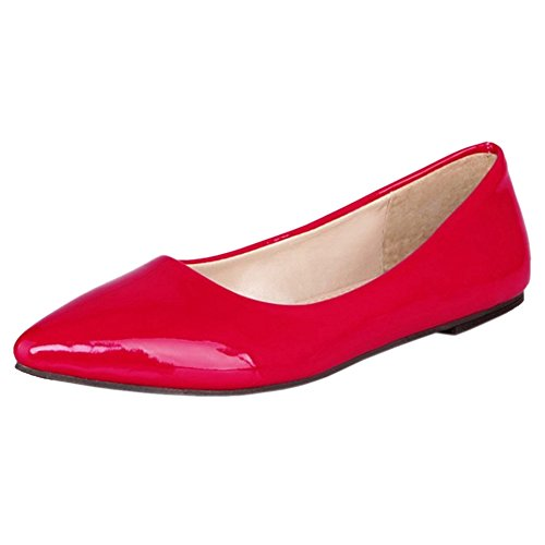 Red TAOFFEN Ballerines Femmes 1 Fermé Bout IA6qvxAwrR