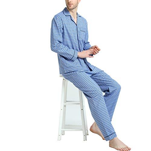 Cotton Sleepwear for Men, Long Sleeve Drawstring Fleece Pjs Set