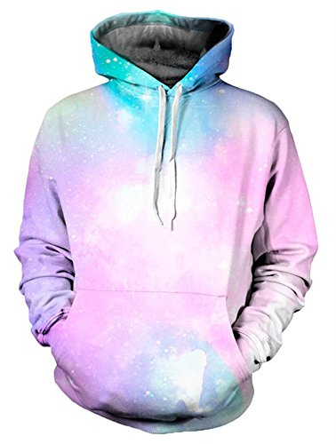 Unisex Vibrant Galaxy Printed Stretch Simple Casual Pink Hoodies Sweatshirts (Hooded Stretch Sweatshirt)
