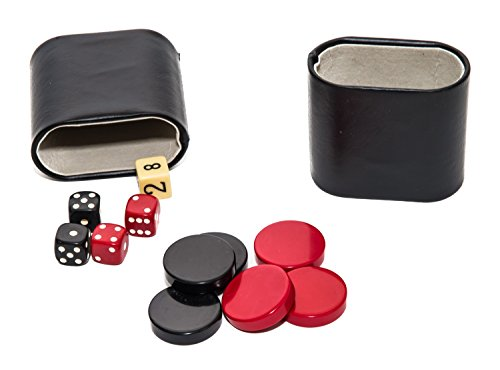 Bello Games Genuine Leather Dice Cup Set with Uria Stone Backgammon Checkers