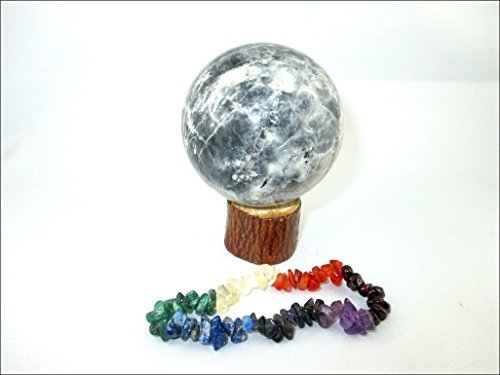 (Jet Black Moonstone 45-50 mm Ball Sphere Gemstone A+ Hand Carved Crystal Altar Healing Devotional Focus Spiritual Jet International Crystal Therapy Booklet Image is JUST A Reference)