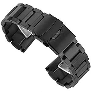 18mm Brushed Finish Stainless Steel Watch Band Strap with Fold-Over Clasp Push Button Buckle - Black