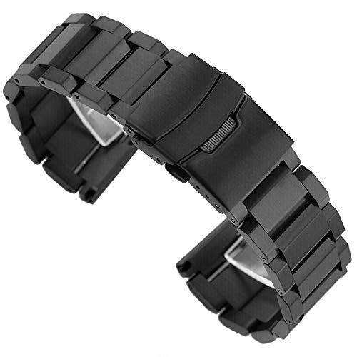 - Stainless Steel Watch Band Classic Watch Strap 22mm with Foldable Buckle Clasp Solid Metal Watchband Wrist Band - Black