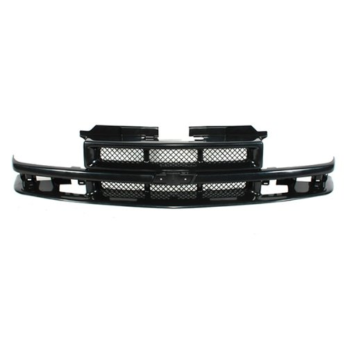 CarPartsDepot, 400-152887 Pickup Front Grille Grill Kit Black Mesh Insert Replacement Paintable New, GM1200413 12471853 (Chevy S10 Grille Emblem)