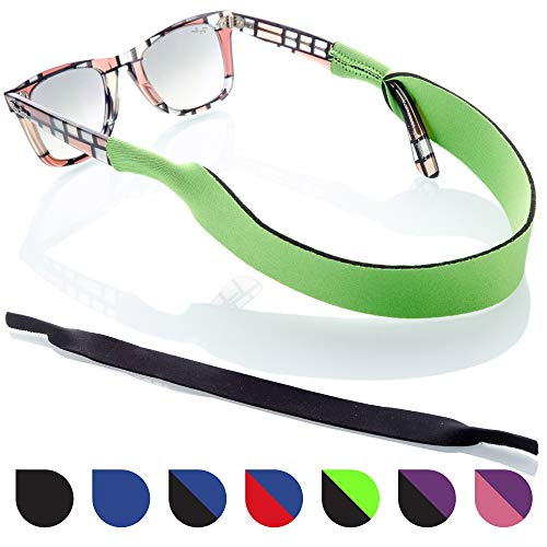 Sunglasses and Glasses Safety Strap - 2 Pack | Anti-Slip and Fast Drying Sport Glasses Strap (Green + Black)