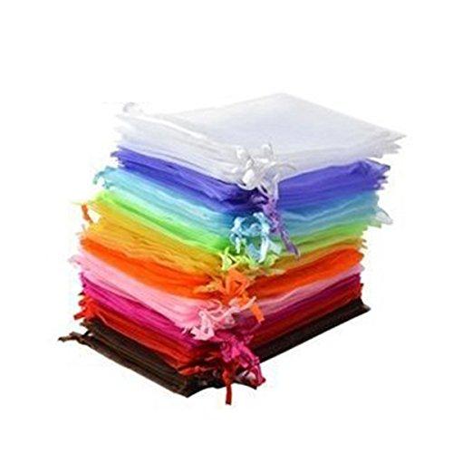 VORCOOL 50 stücke 9 * 12 cm Organza Kordelzug Geschenk Taschen Hochzeit Gunsten Taschen Schmuck Beutel für Festival Party Hochzeit Verwenden 9 * 12 cm (gelegentliche Farbe)