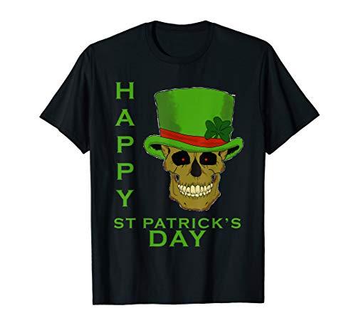 (Happy St Patricks Day Leprechaun Skull Tee Shirt)