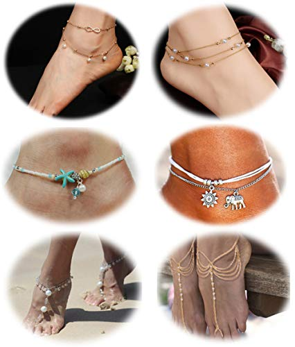 - LOLIAS 8Pcs Ankle Bracelets for Women Girls Boho Starfish Elephant Beach Chain Anklet Set