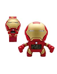 Bulb Botz 2020046-S Set Reloj de Pulso y Reloj Despertador Iron Man, color Rojo