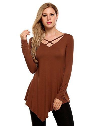 Zeagoo Women's Plus Size Asymmetrical Hem Tunic Top Blouse Khaki ()