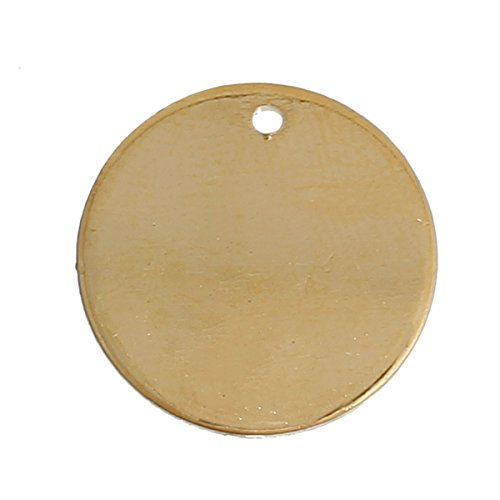 10 Gold Plated Copper Round Circle Stamping Blank Tags for Metal Stamping 15mm or 5/8 Inch Diameter