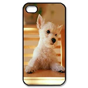 IPhone 4/4s Cases Shock Absorbent Dog Sitting on a Chair at the Table, Dog & Cute Case for Iphone 4 4s [Black]
