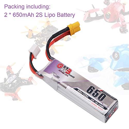 FancyWhoop 2pcs 650mAh 2S 60C HV LiPo Batterie 7.6V XT30 Prize pour Micro FPV Racing Drone Quadricoptere