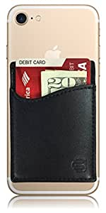 CardBuddy Deluxe: Leather Credit Card Holder Stick-On Wallet for iPhone & Android Smartphones, Black