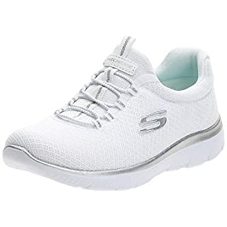 Skechers Women's Summits Sneaker, White (White/Silver), 5.5 W US