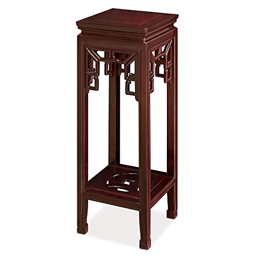 Rosewood Furniture China (China Furniture Online Rosewood Pedestal Display Stand with Shelf in Cherry Finish)