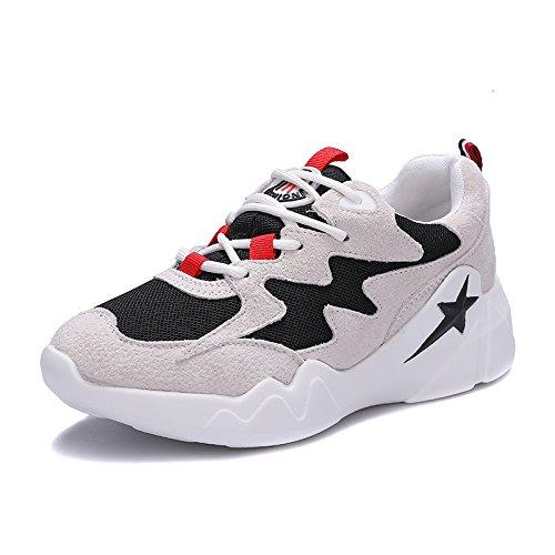 QQWWEERRTT Moda Nueva Malla Zapatillas Zapatos Deportivos Mujeres Aumento Universal Zapatos Casuales negro