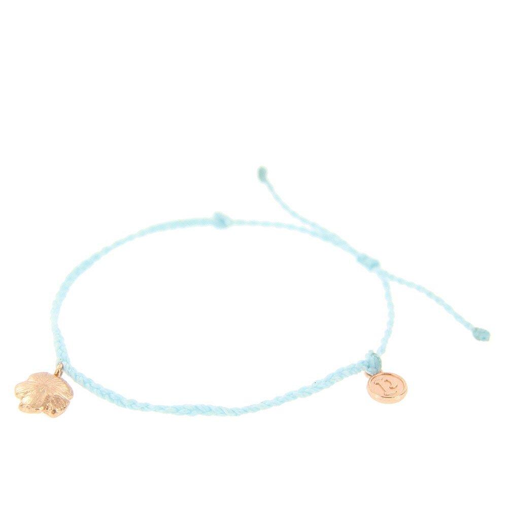 Pura Vida Bitty BB Hibiscus Charm Ice Blue Bracelet - Rose Gold-Plated Charm, Adjustable Band - 100% Waterproof by Pura Vida (Image #2)