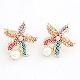 Superhai Colored Beads Starfish Earrings Pearl Earrings