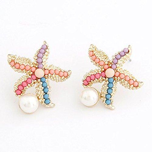 Superhai Colored Beads Starfish Earrings Pearl (Pearl Starfish Earrings)