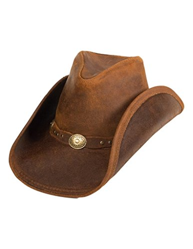 Minnetonka Men's Leather Outback Hat Brown Large