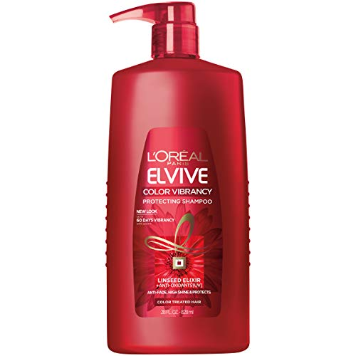 L'Oréal Paris Elvive Color Vibrancy Protecting Shampoo, for Color Treated Hair, Shampoo with Linseed Elixir and Anti-Oxidants, for Anti-Fade, High Shine, and Color Protection, 28 fl. oz.