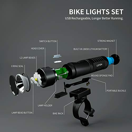 LETION Rechargeable Bike Light Set,Bike Lights Front and Back 800 Lumen Cycling Bicycle Headlight,Waterproof Front Mountain Bicycle Lights for All Bikes,Road,Street,Kids