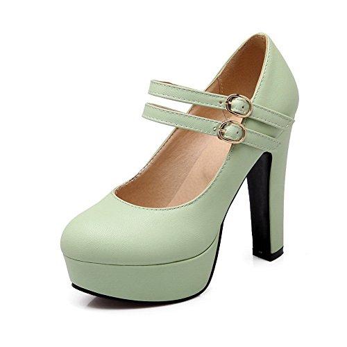 Mesdames Toe High shoes clair Vert Heels pumps imitation cuir Round balamasa dwfgq1OFd