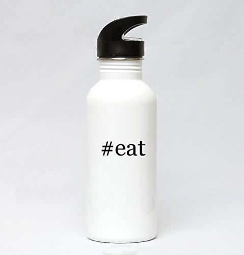 20oz Stainless Steel White Hashtag Water Bottle - #eat