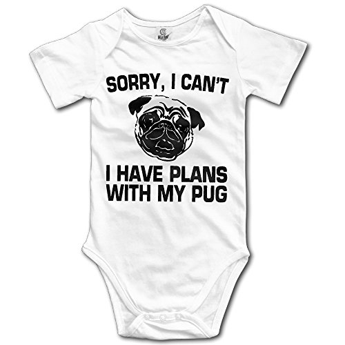 Love Baby SORRY I CAN'T I HAVE PLANS WITH MY PUG Short Sleeve Baby Onesie Clothing -