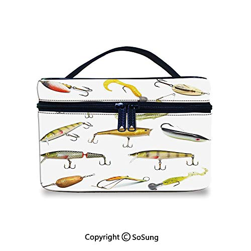 Fishing Decor Leather Cosmetic Bag Fishing Tackle Bait for Spearing Trapping Catching Aquatic Animals Molluscs DesignHandbag With Zipper,9.8x7.1x5.9inch,Multi