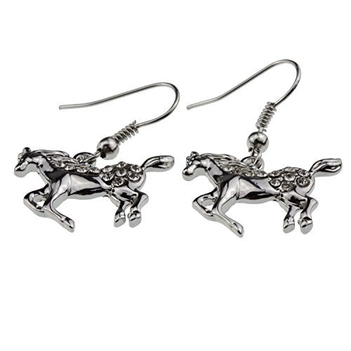 Horse Earrings [Galloping/Prancing] Crystal Paved