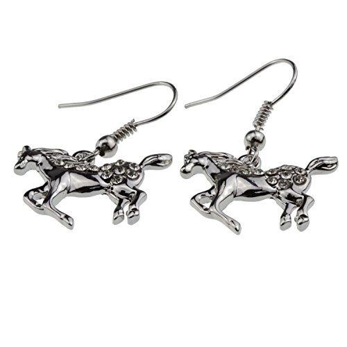 (Horse Earrings [Galloping/Prancing] Crystal Paved )