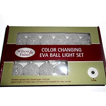 Wilson & Fisher Color Changing Eva Ball LED Light Set 10 Balls 6 Ft Lighted Length