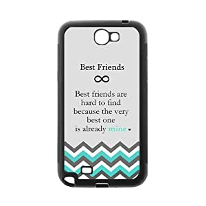 """Case for Samsung N7100 GALAXY Note2 """"Best Friend Are Hard to Find Because the Very Best One is Already Mine"""" Infinity Cyan and Gery Chevron Zigzag Design Black Protective Case"""