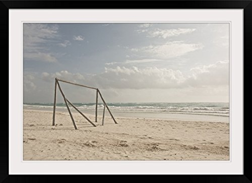 GreatBIGCanvas ''A makeshift soccer net constructed from driftwood. Tulum, Mexico, 2010.'' Photographic Print with Black Frame, 36'' x 24'' by greatBIGcanvas