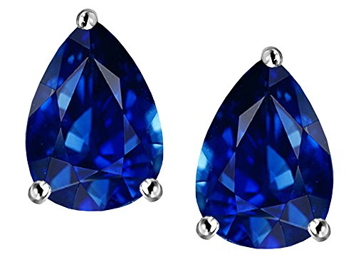 (Star K Pear Shape 9x7mm Created Sapphire Earrings Studs Sterling)