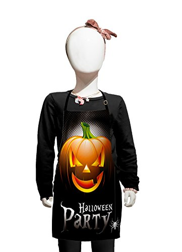 Lunarable Halloween Kids Apron, Halloween Party Theme Scary Pumpkin on Abstract Modern Backdrop Spider, Boys Girls Apron Bib with Adjustable Ties for Cooking Baking and Painting, Silver Black -