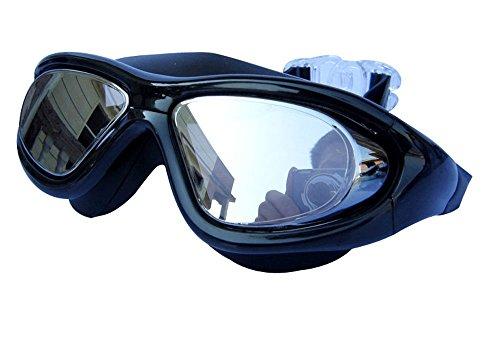 Qishi Super Big Frame No Press the Eye Swimming Goggles for Adult (black)