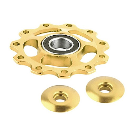 MNtech New 11Tooth MTB Ceramic Bearing Jockey Wheel Pulley Road Bicycle Bike Derailleur (Gold) (Jockey Battery Pack)